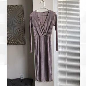 ASOS Midi Long Sleeve Lavender Grey Dress